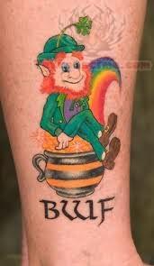 Leprechaun Sitting On Pot Tattoo