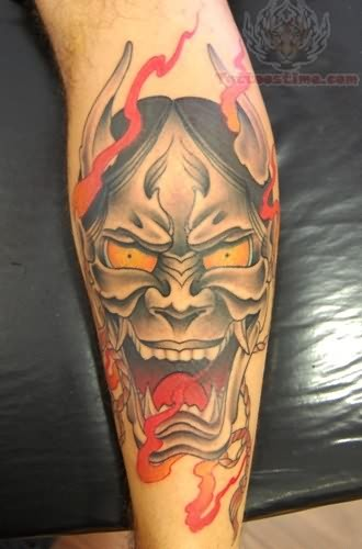Angry devil mask tattoo for Face mask tattoo