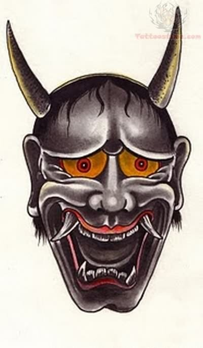 angry mask tattoo sample. Black Bedroom Furniture Sets. Home Design Ideas