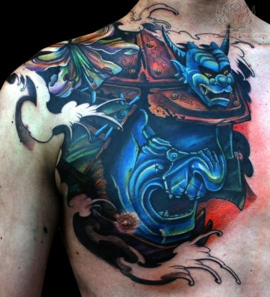 Blue samurai mask tattoo japanese samurai tattoos samurai mask tattoo