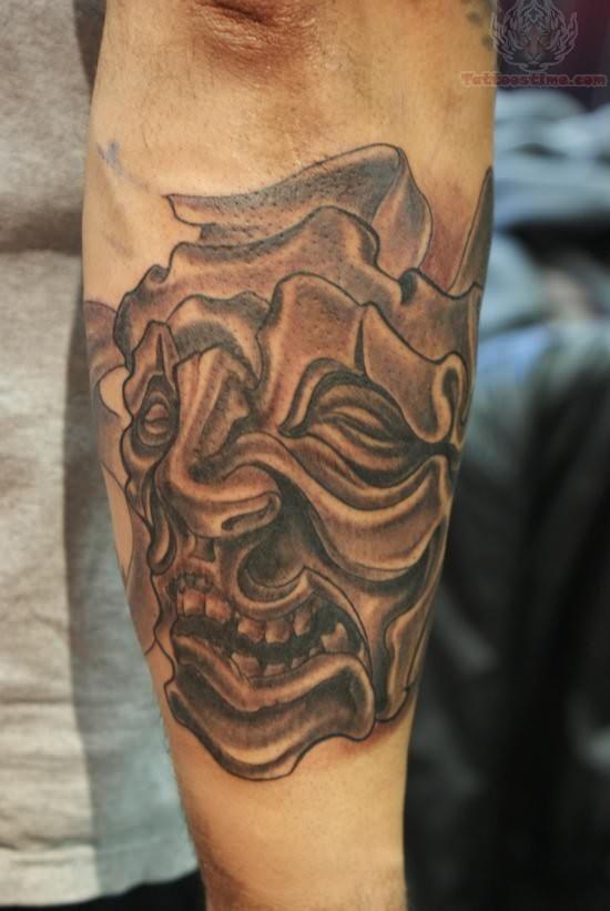 devil mask tattoo on arm. Black Bedroom Furniture Sets. Home Design Ideas