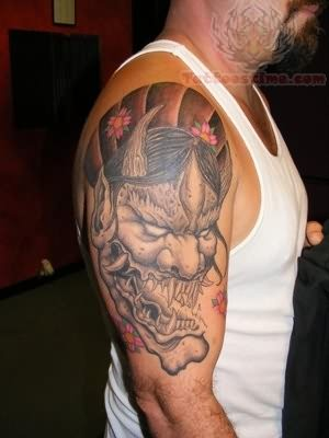 Hannya Mask Tattoo On Muscles