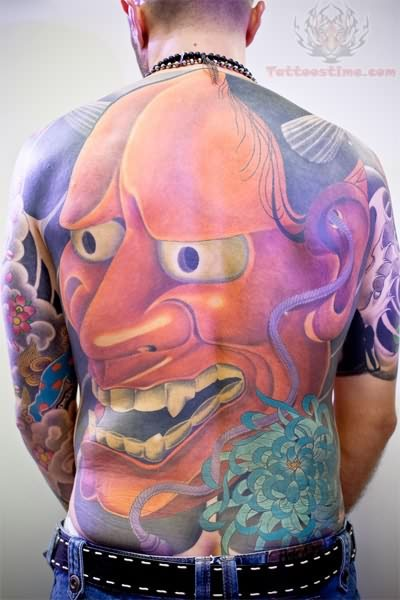 Huge hannya mask back tattoo for Japanese mask tattoo