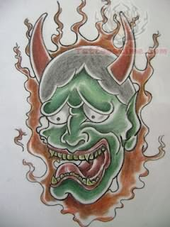 Japanese Hannya Mask Tattoo Sample