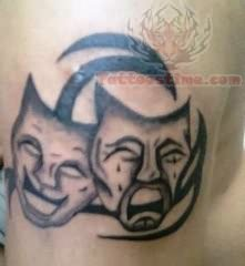 Laughing And Crying Mask Tattoo