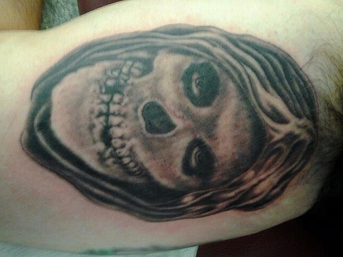 The Misfits Grey Ink Skull Tattoo By Jerry Thrash The Tattoo Factory Chicago