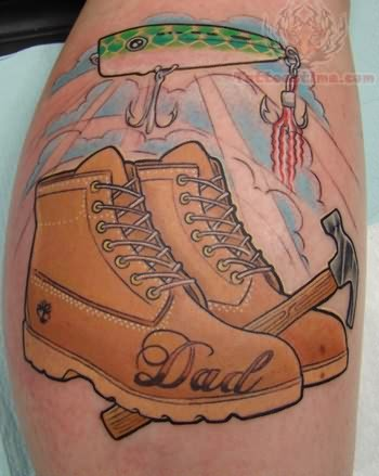 Dad boots memorial tattoo for Baby tattoos for dads