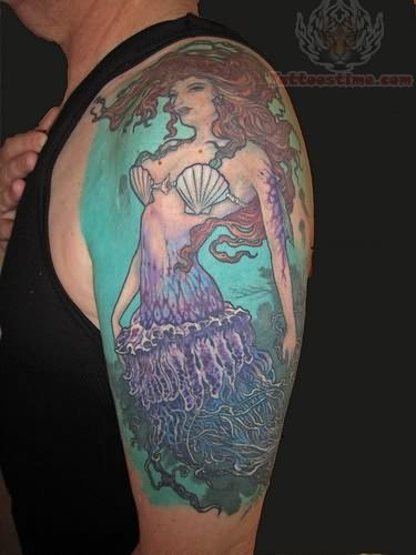 Fantsy Mermaid Tattoo On Shoulder
