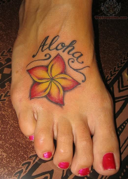 hawaiian flower tattoo on foot. Black Bedroom Furniture Sets. Home Design Ideas