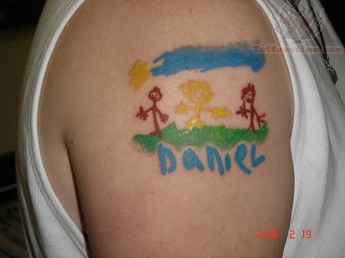Hippie Colorful Tattoo On Shoulder