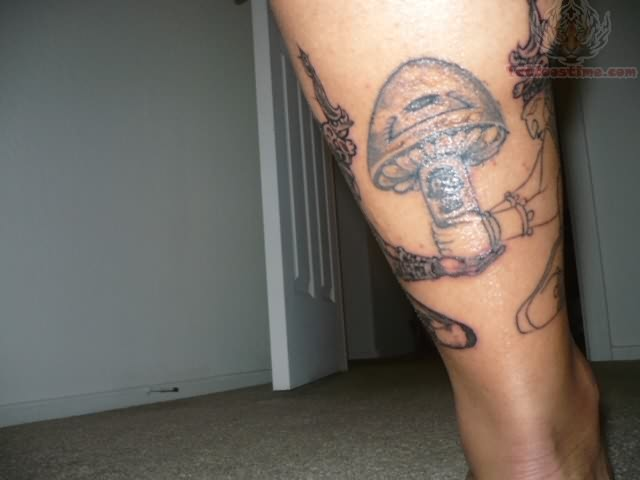 Hippie Mushroom Tattoo On Leg