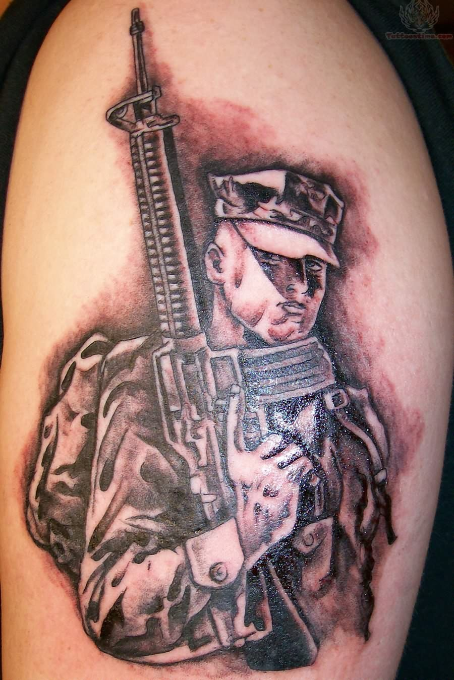 Military Tattoo On Back Shoulder