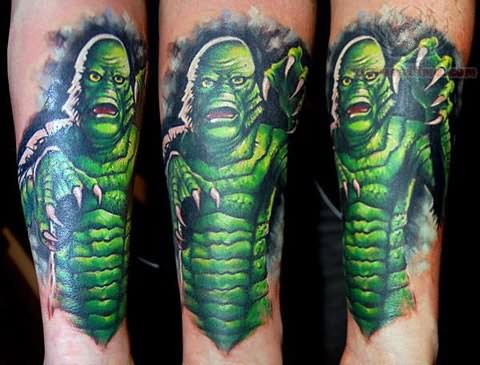 Green ink Monster Tattoo