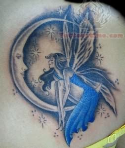 beautiful moon and fairy tattoo. Black Bedroom Furniture Sets. Home Design Ideas