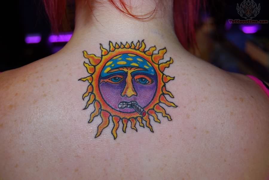 Small Moon Tattoo On Back Neck