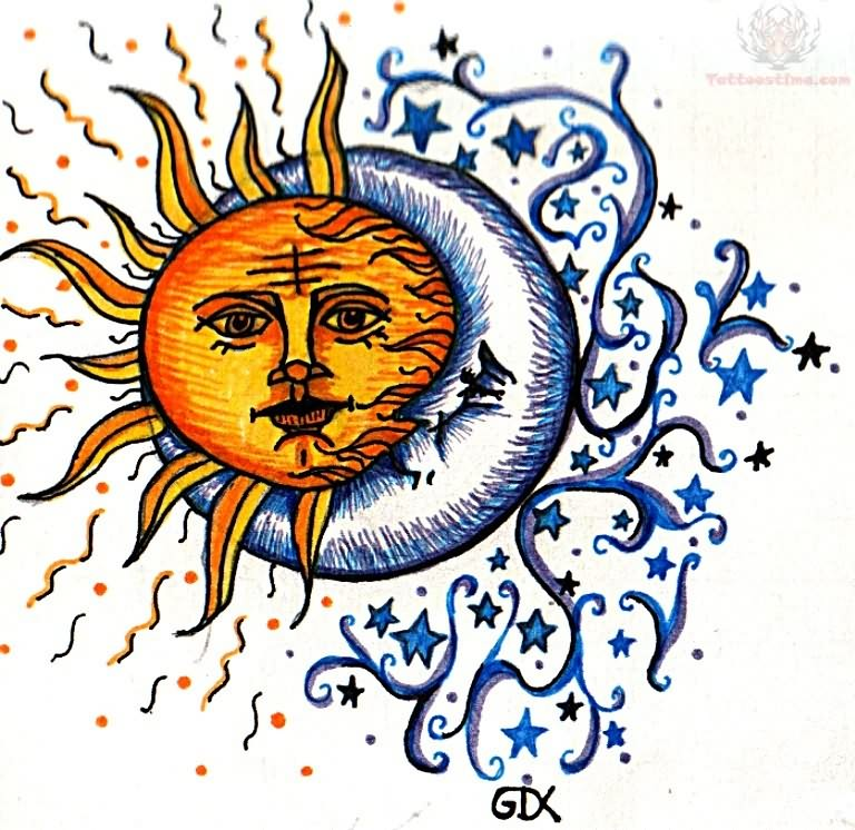 Sun And Moon Tattoo Design