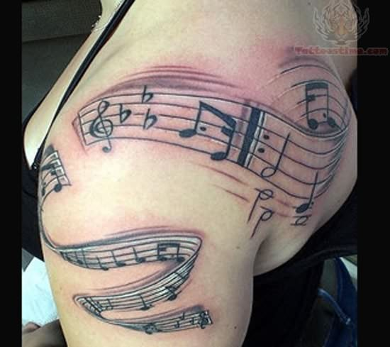 Music Notes Tattoo Design For Women