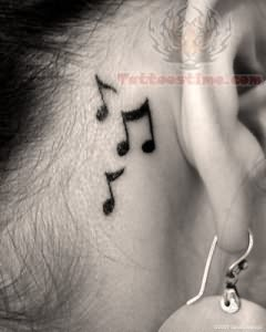 Music Notes Tattoo On Back Ear