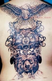 Native American Eagle And Wolf Tattoo