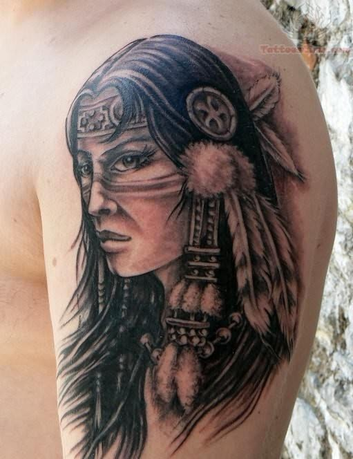 Native American Girl Portrait Tattoo