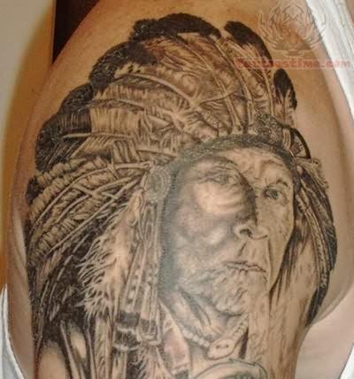 Pin realistic native american warrior tattoo on upper arm for Native american warrior tattoos