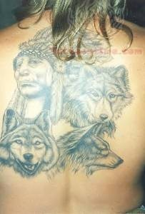 Wolves Native American Tattoo