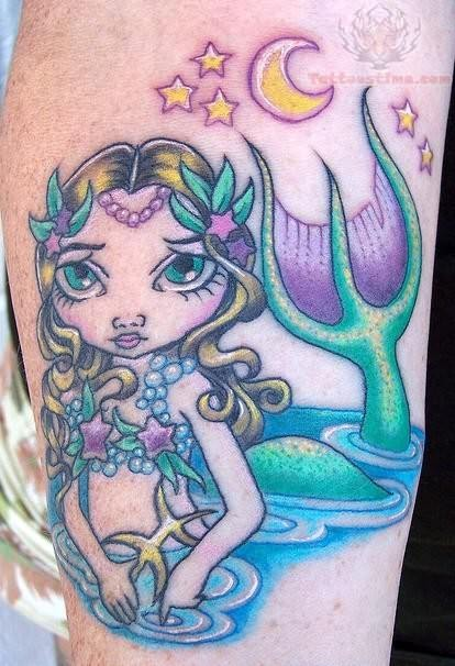 Mermaid Ocean And Moon Tattoo