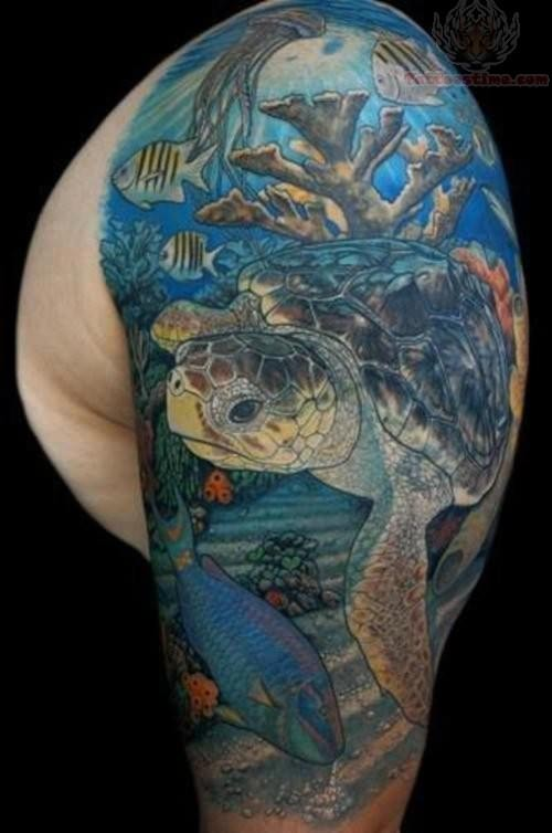 Ocean Tattoo On Upper Shoulder