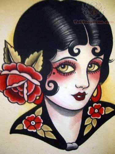 Old school beautiful girl tattoo for Old school pin up tattoos
