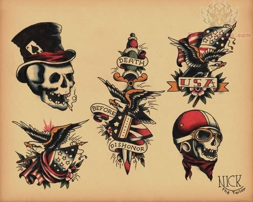 Old school tattoo images designs for Traditional motorcycle tattoo