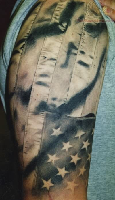 Patriotic Black And White Tattoo