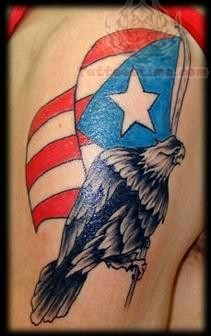 Patriotic Eagle Tattoo On Shoulder