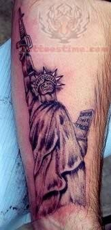 Statue Of Liberty With Gun Tattoo