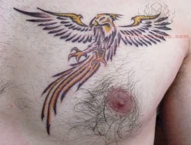 Gaetan phoenix tattoo on chest for Phoenix chest tattoos