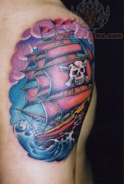 Old Pirate Tattoo On Shoulder