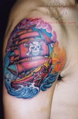 Orignal Pirate Tattoo On Shoulder