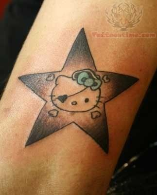 Pirate Kitty Star Tattoo