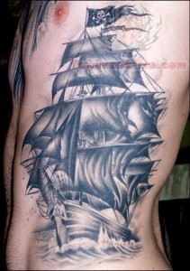 Pirate Ship Tattoo On Rib