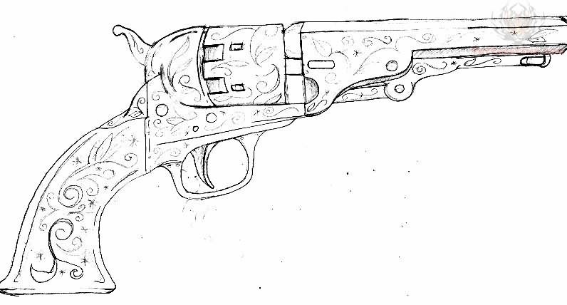 Civil Pistol Tattoo Design