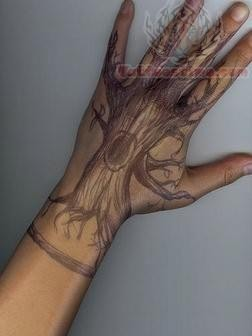 Tree Tattoo Design On Hand