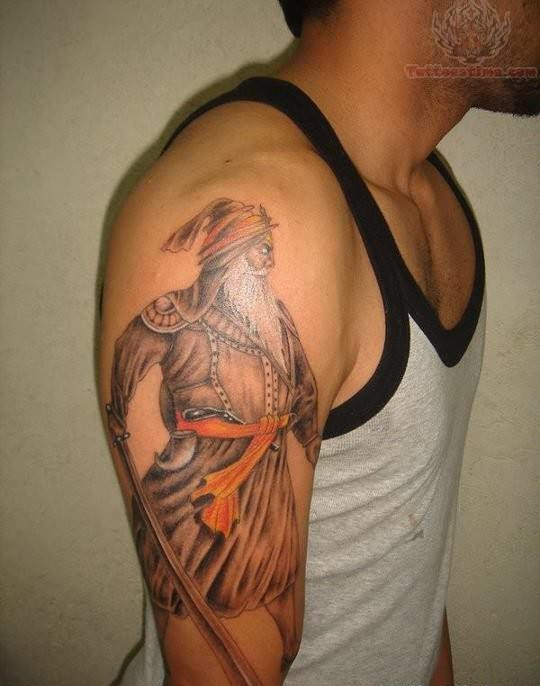 Baba deep singh portrait tattoo for How deep is a tattoo