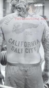 California Prison Back Tattoo