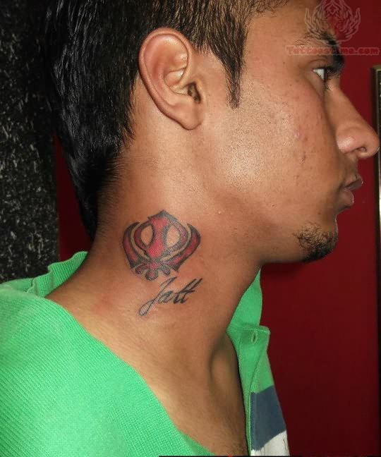 Punjabi Tattoos Posts: Khanda Tattoo On Neck