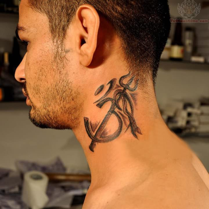 punjabi religious tattoo on neck