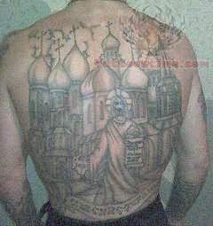 Russian Back Body Prison Tattoo
