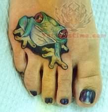 Frog Tattoo On Foot