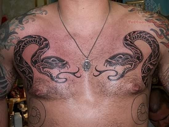 snake tattoos on chest