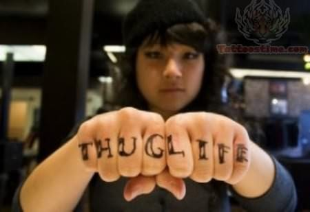 Thug Life Tattoo For Fingers