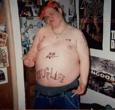 Thug Life Tattoo On Belly For Men