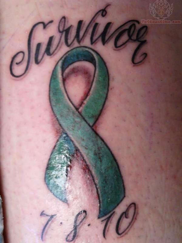 Ribbon tattoo images designs for Ovarian cancer tattoos